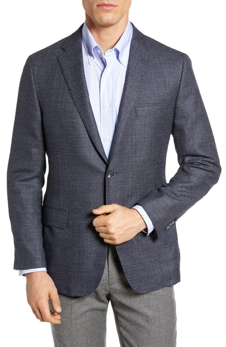 HICKEY FREEMAN Classic Fit Wool & Silk Blazer, Main, color, MEDIUM BLUE