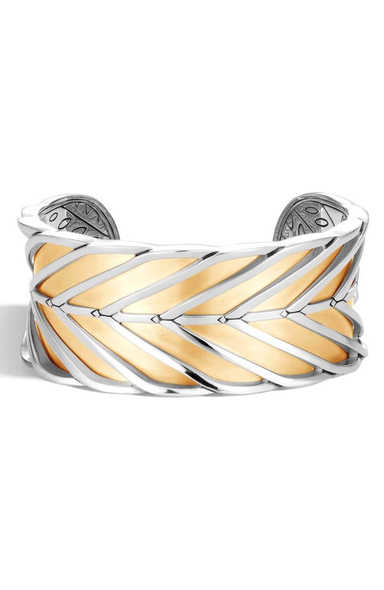 JOHN HARDY Modern Chain Large Cuff Bracelet, Main, color, SILVER/ GOLD