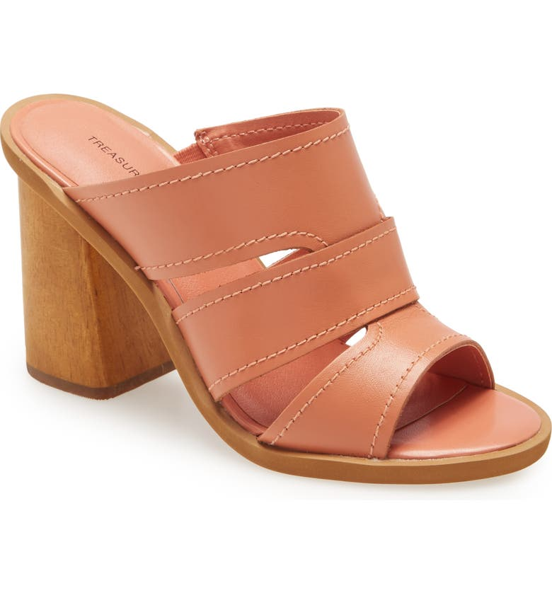 TREASURE & BOND Allie Block Heel Sandal, Main, color, CORAL LEATHER