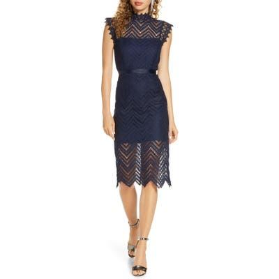 Bardot Imogen Lace Cocktail Dress, Blue