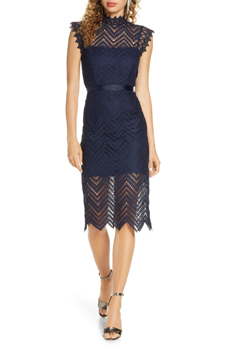 BARDOT Imogen Lace Sheath, Main, color, NAVY