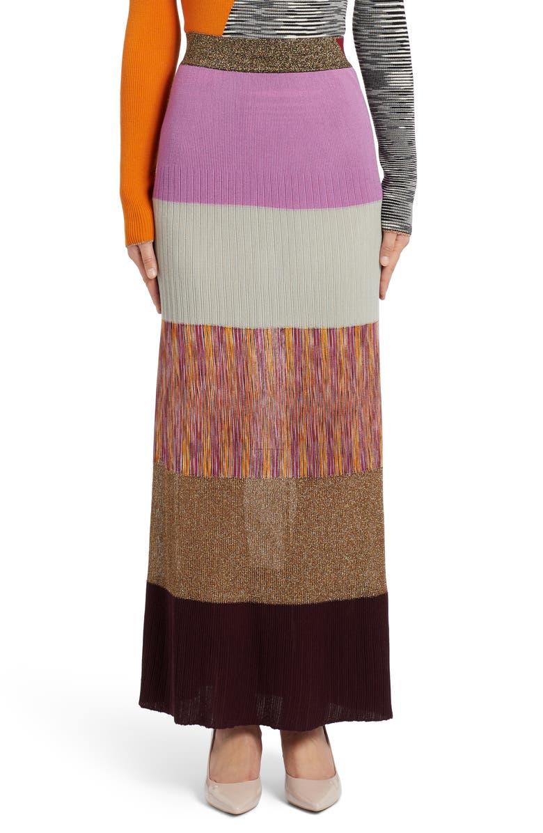 MISSONI Metallic Patchwork Maxi Sweater Skirt, Main, color, MULTI