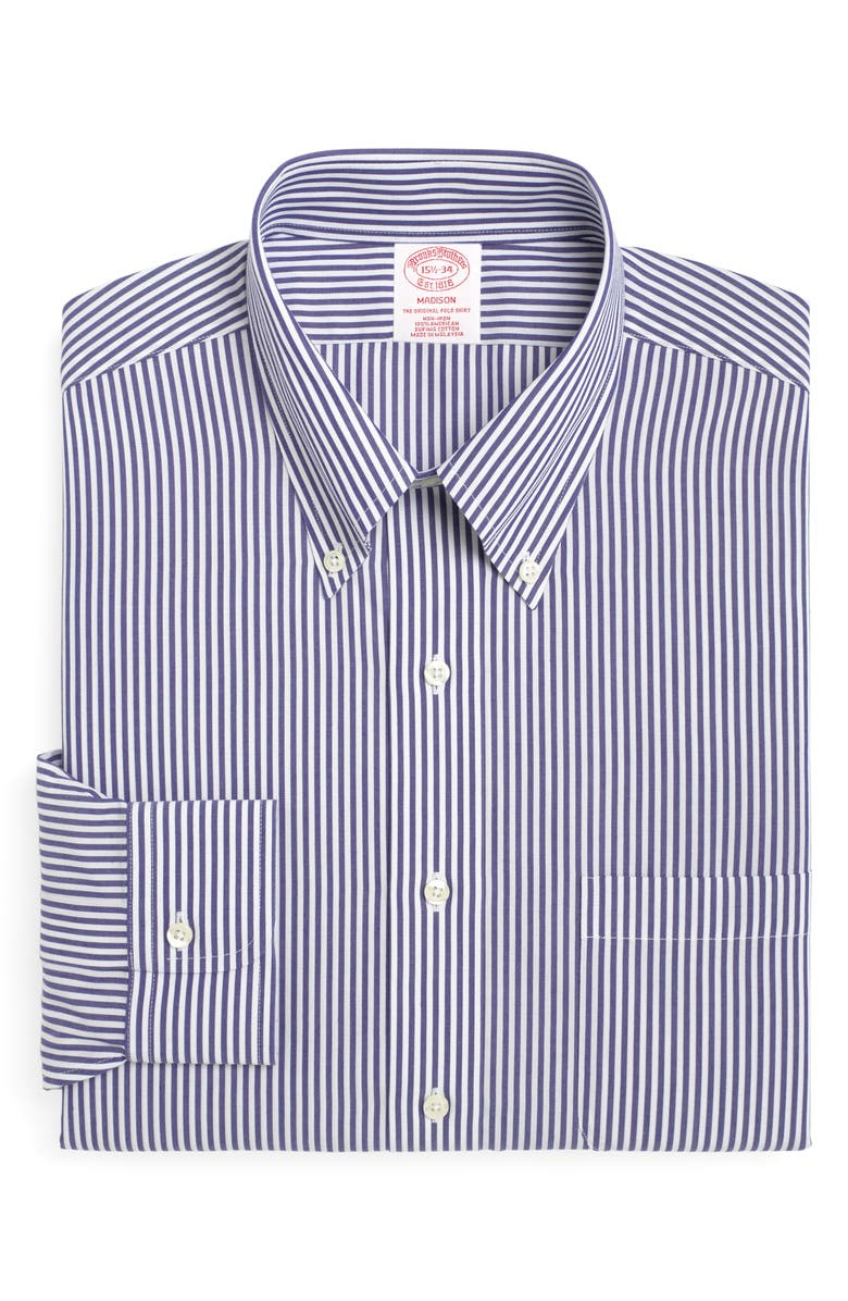 BROOKS BROTHERS Madison Classic Fit Stripe Dress Shirt, Main, color, BLUE