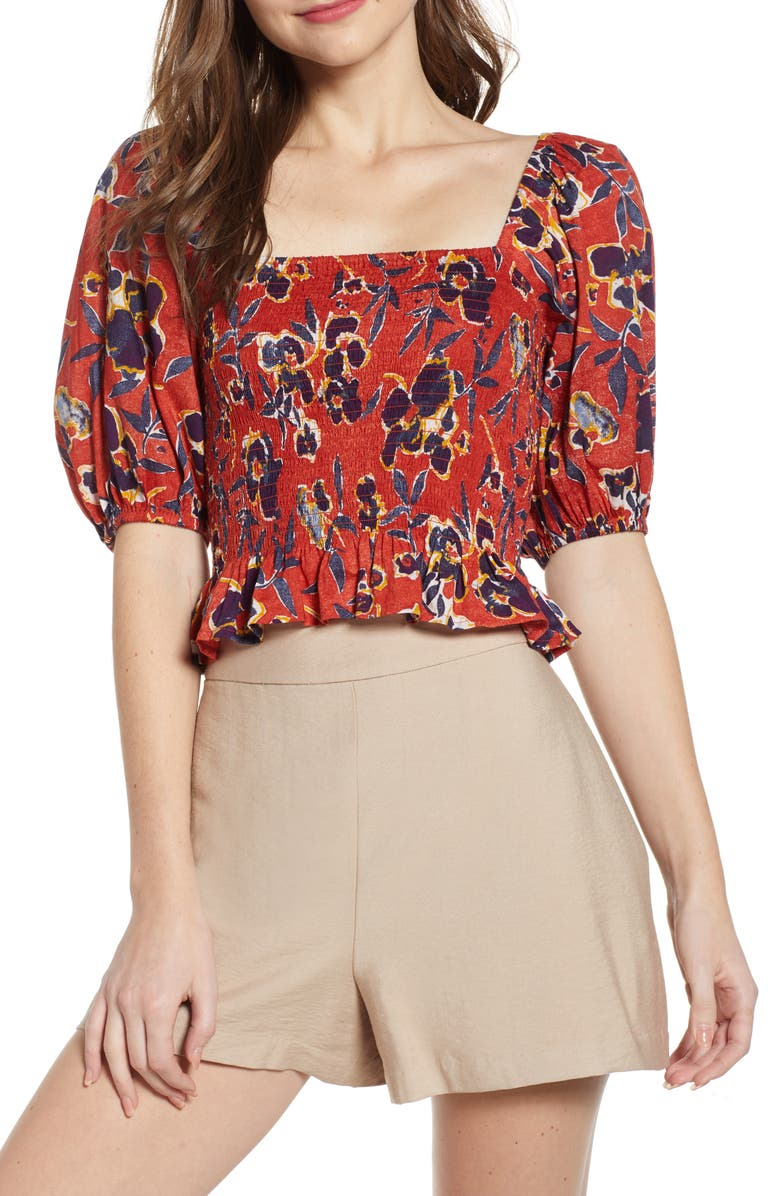 BP. Print Smocked Crop Top, Main, color, RED OCHRE ABSTRACT FLORAL