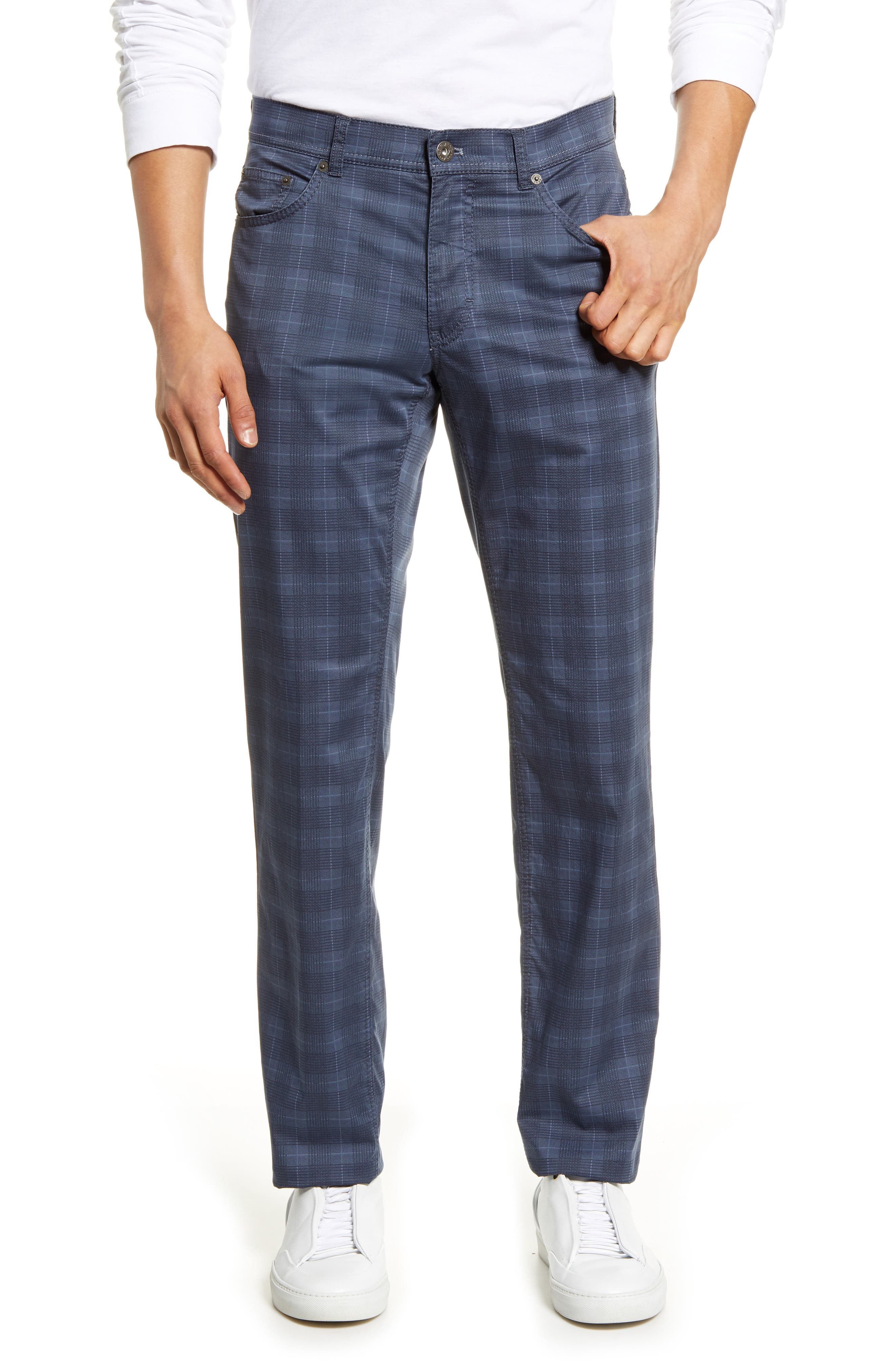 Ultra-lightweight fabric woven from stretchy cotton offers easy care and comfort to versatile plaid pants in a five-pocket cut for casual appeal. Style Name: Brax Cooper Fancy Ultralight Plaid Straight Leg Pants. Style Number: 6002784. Available in stores.
