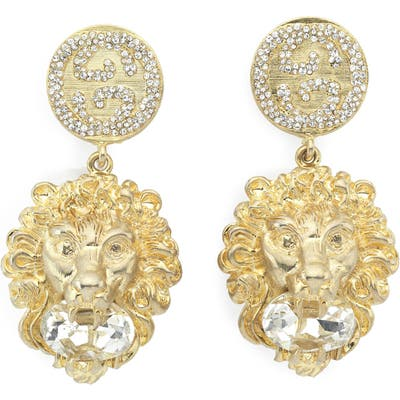 Gucci Lion Head Crystal Drop Earrings