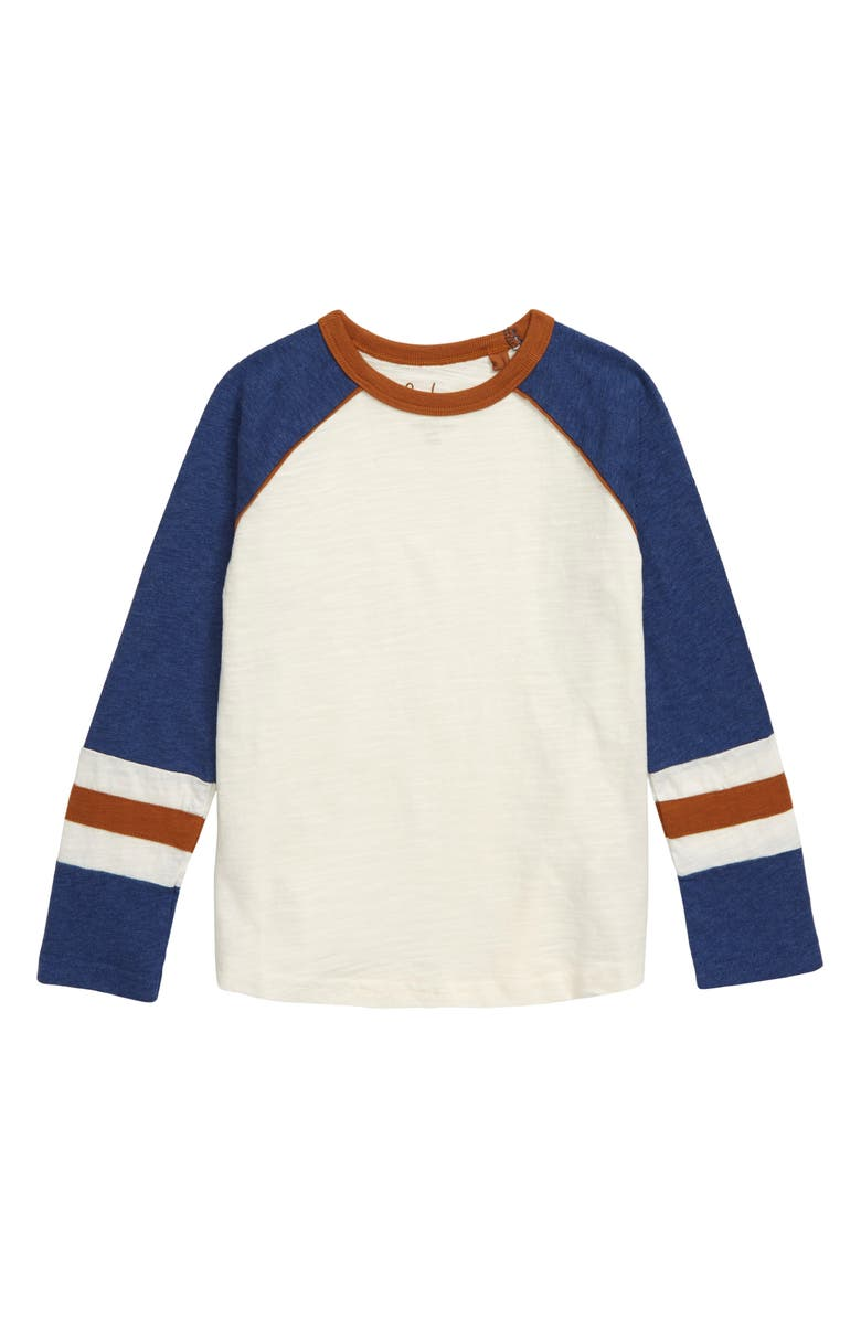 MINI BODEN Raglan T-Shirt, Main, color, ECRU/ BLUE MARL