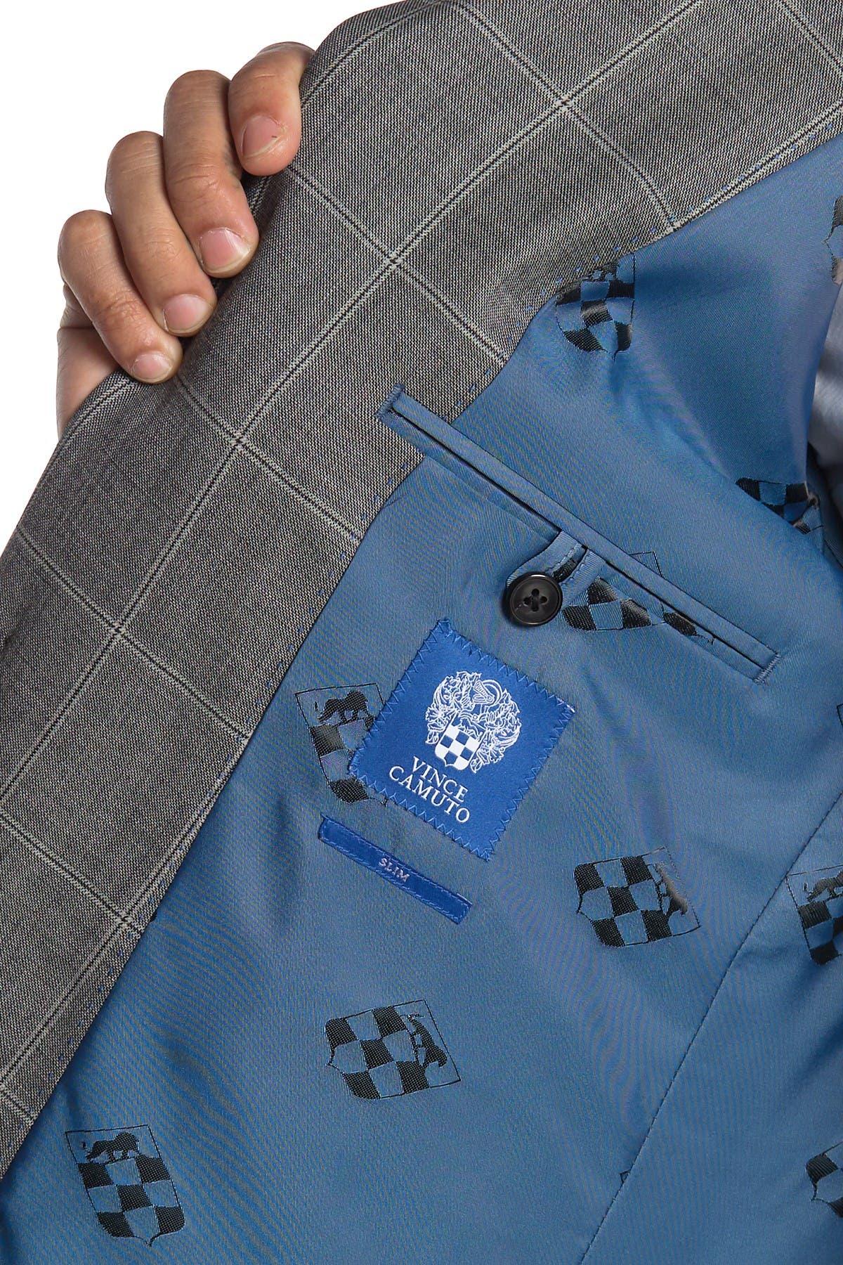 Vince Camuto Medium Grey Plaid Slim Fit 2-Piece Suit