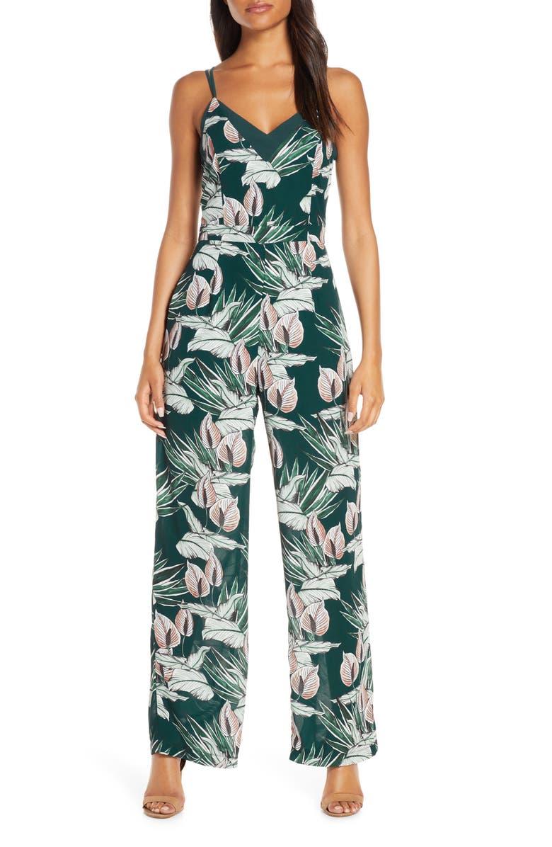 ADELYN RAE Nissa Floral Jumpsuit, Main, color, DEEP TEAL MULTI