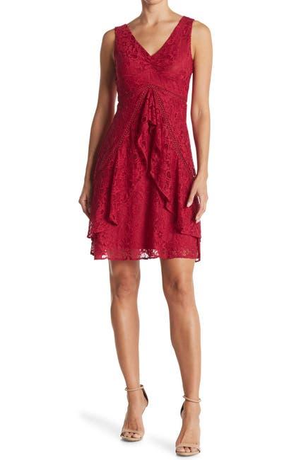 Image of Taylor A-Line Ruffle Skirt Lace Dress