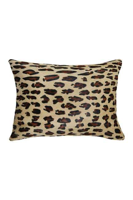 "Image of Natural Torino Genuine Cowhide Pillow - 12""x20"" - Leopard"