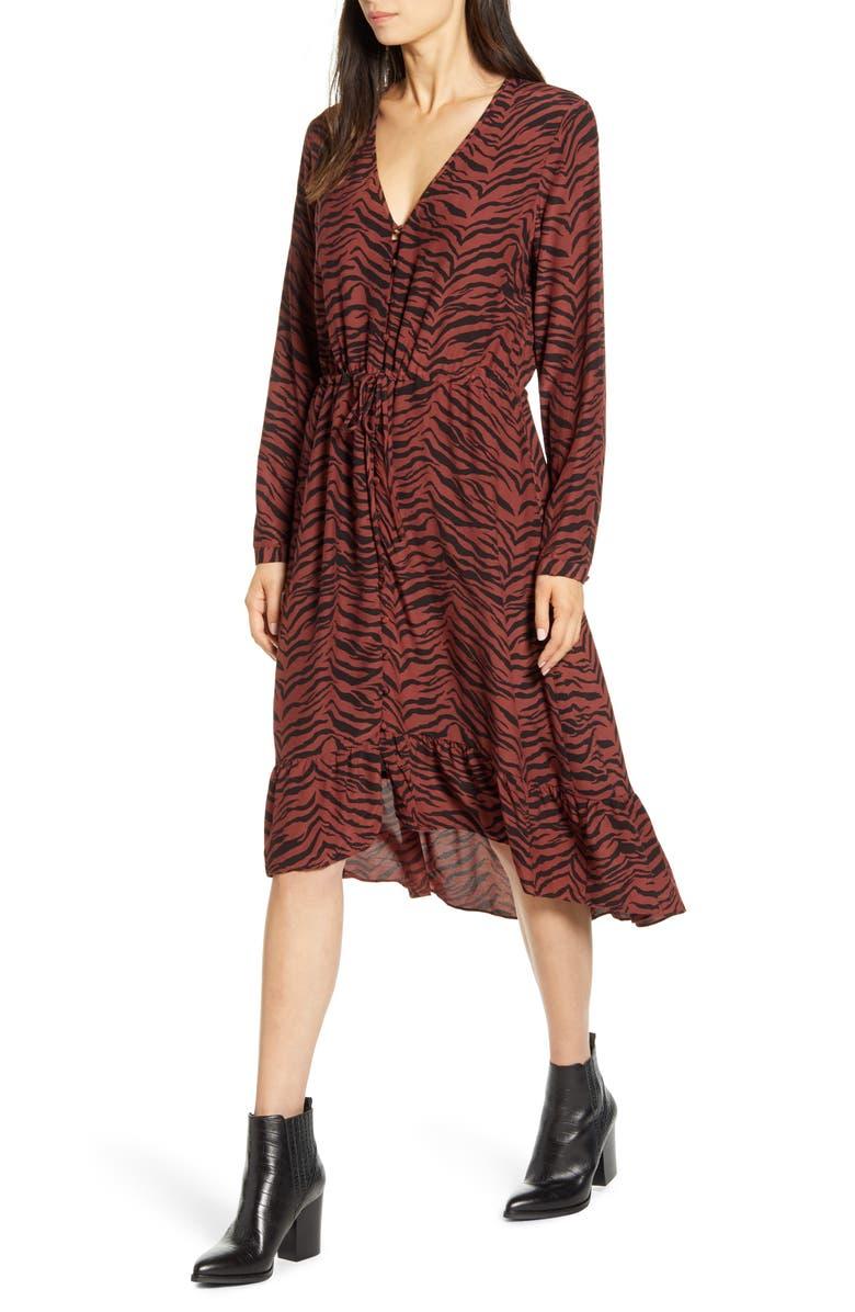 RAILS Jade High/Low Ruffle Hem Dress, Main, color, RUST TIGER STRIPE
