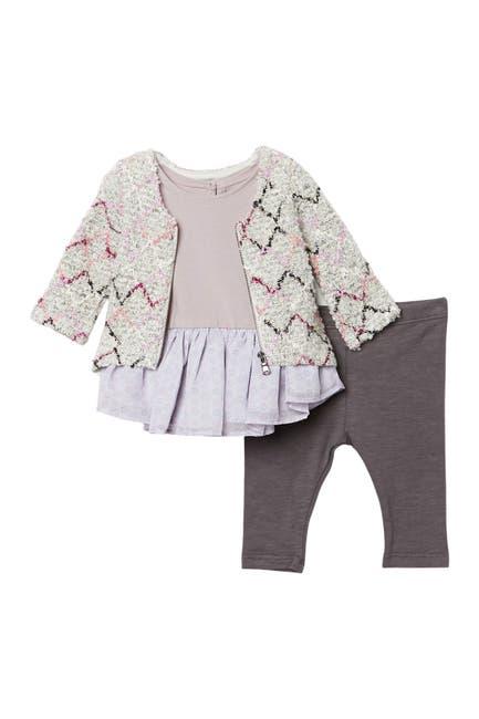 Image of Pippa & Julie 3-Piece Printed Sweater, Top, & Leggings Set