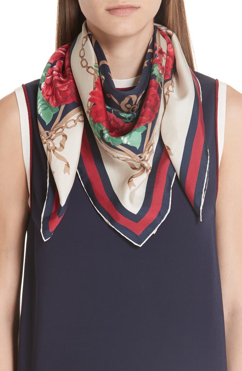 GUCCI Rose Chain Foulard Silk Twill Scarf, Main, color, MIGHTNIGHT BLUE/ RED