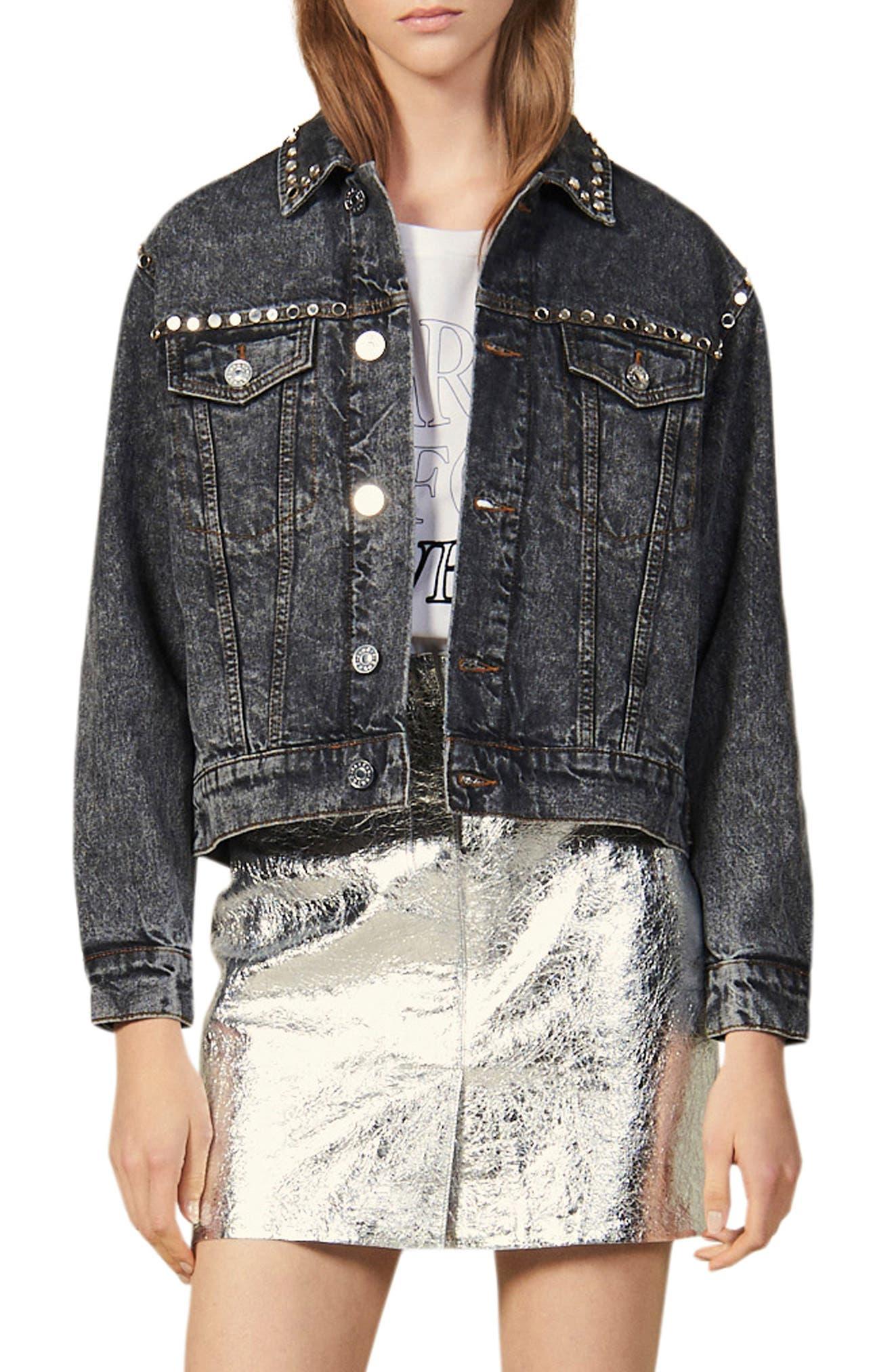 Ambre Mirrored Stud Denim Jacket by Sandro