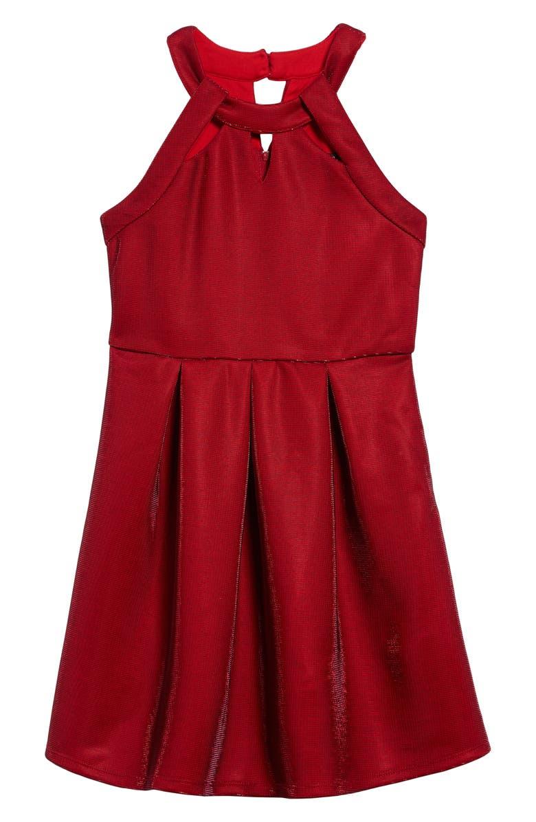 TRIXXI Sleeveless Metallic Scuba Fit & Flare Dress, Main, color, 610