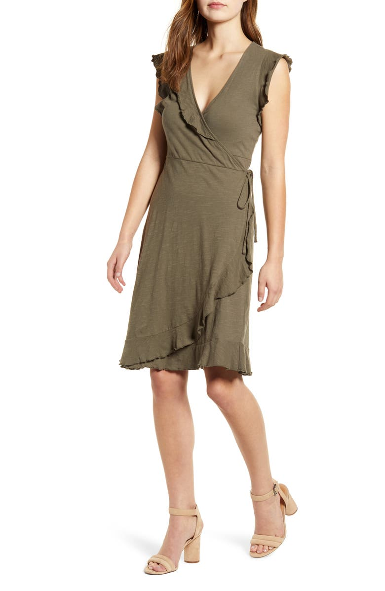LUCKY BRAND Spring Fling Ruffle Cotton Knit Wrap Dress, Main, color, GRAPELEAF