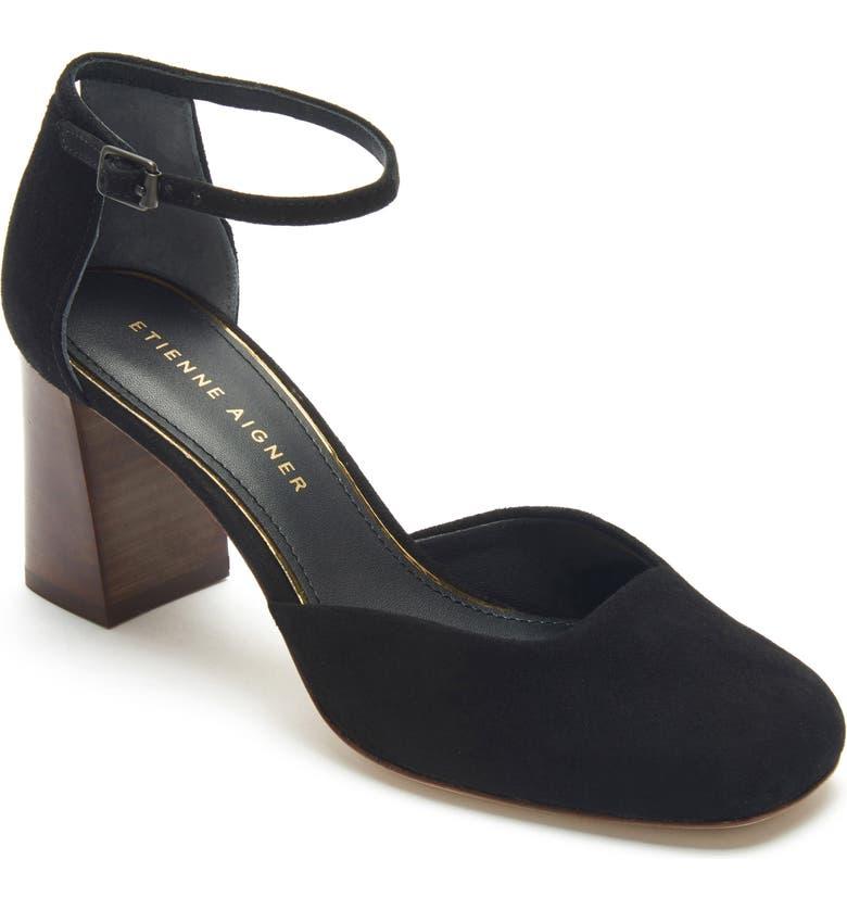 ETIENNE AIGNER Dedra Ankle Strap Pump, Main, color, BLACK SUEDE