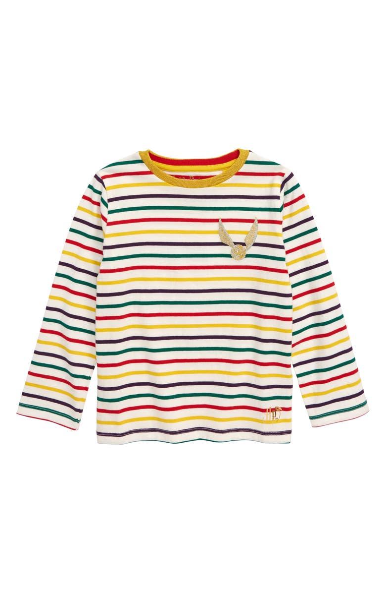 MINI BODEN Harry Potter Golden Snitch Long Sleeve Stripe Tee, Main, color, ROCKABILLY RED MULTISTRIPE
