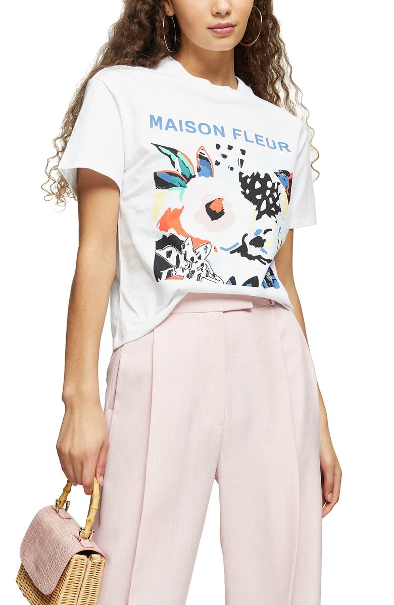 TOPSHOP Maison Fleur Graphic Tee, Main, color, 100