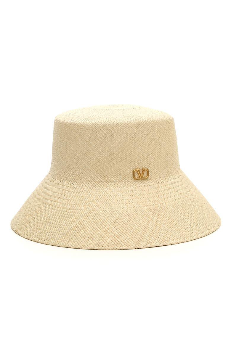 VALENTINO Straw Bucket Hat, Main, color, 250