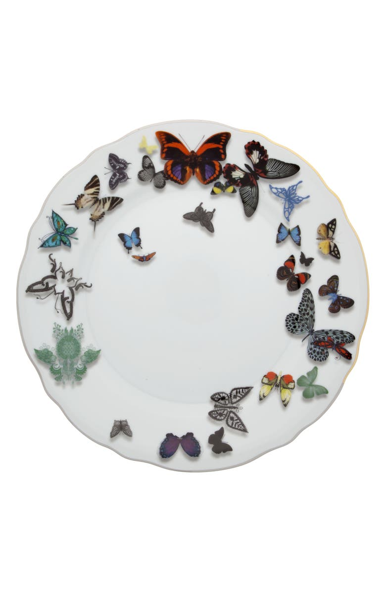 CHRISTIAN LACROIX Butterfly Parade Dinner Plate, Main, color, WHITE