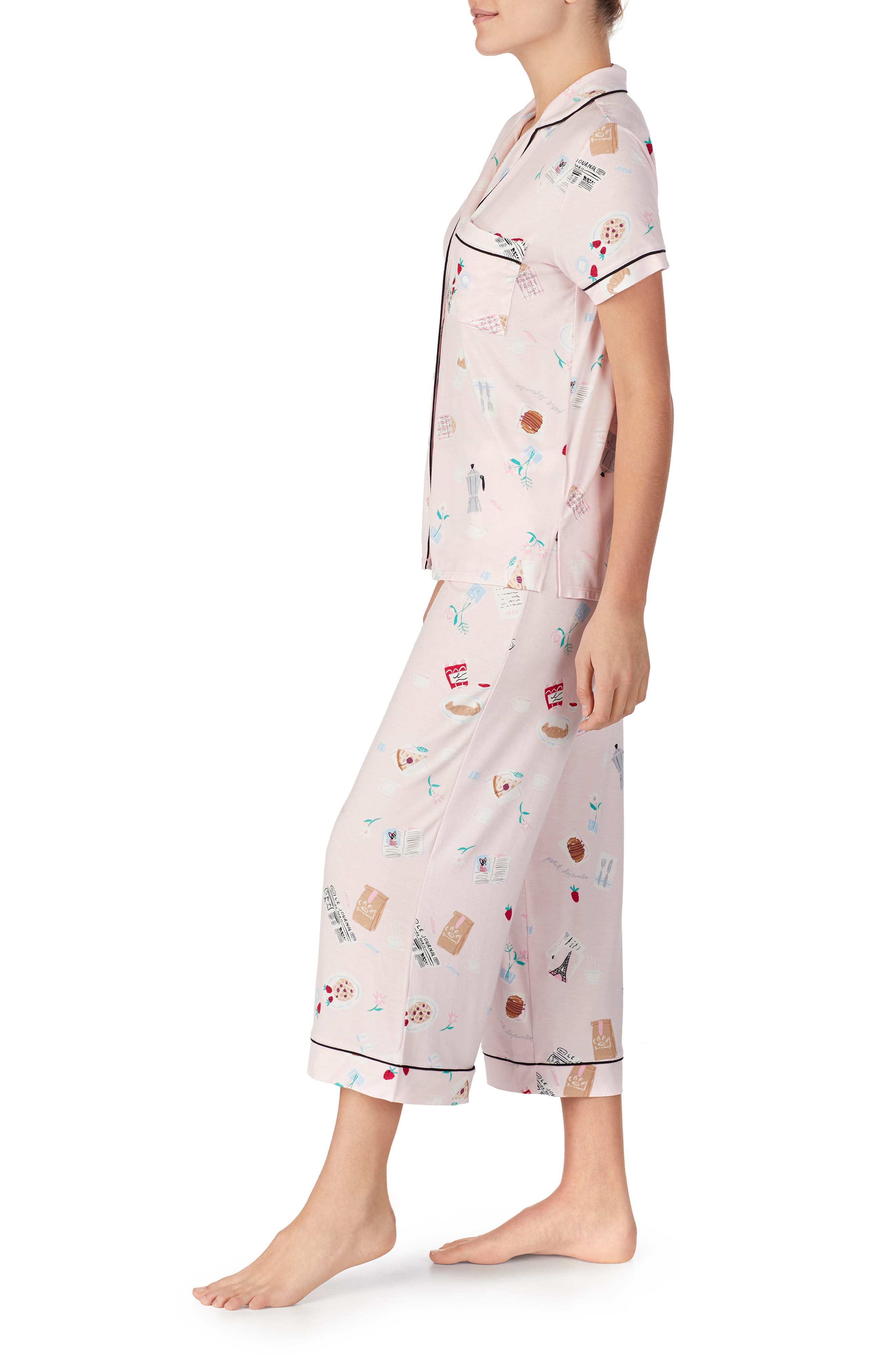 ,                             crop pajamas,                             Alternate thumbnail 3, color,                             PARISIAN BREAKFAST