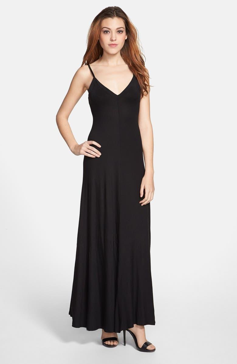 MAX & MIA V-Neck Maxi Dress, Main, color, 001