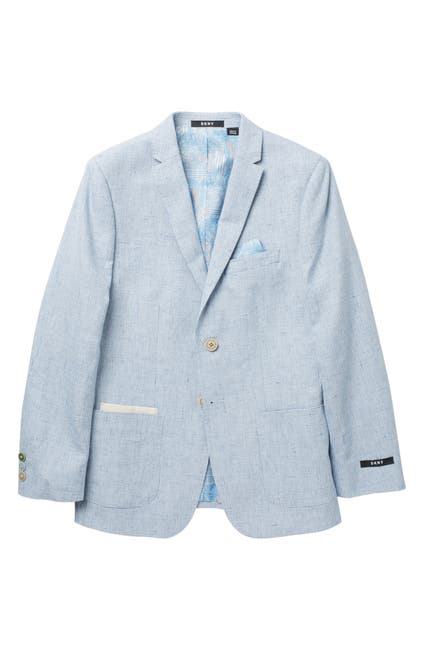 Image of DKNY Houndstooth Two Button Notch Lapel Linen Blend Blazer