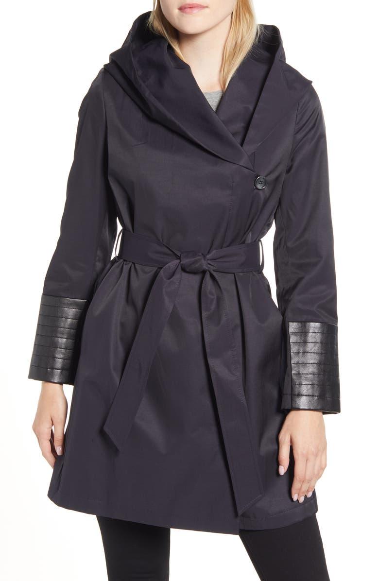 VIA SPIGA Faux Leather Trim Rain Jacket, Main, color, NAVY