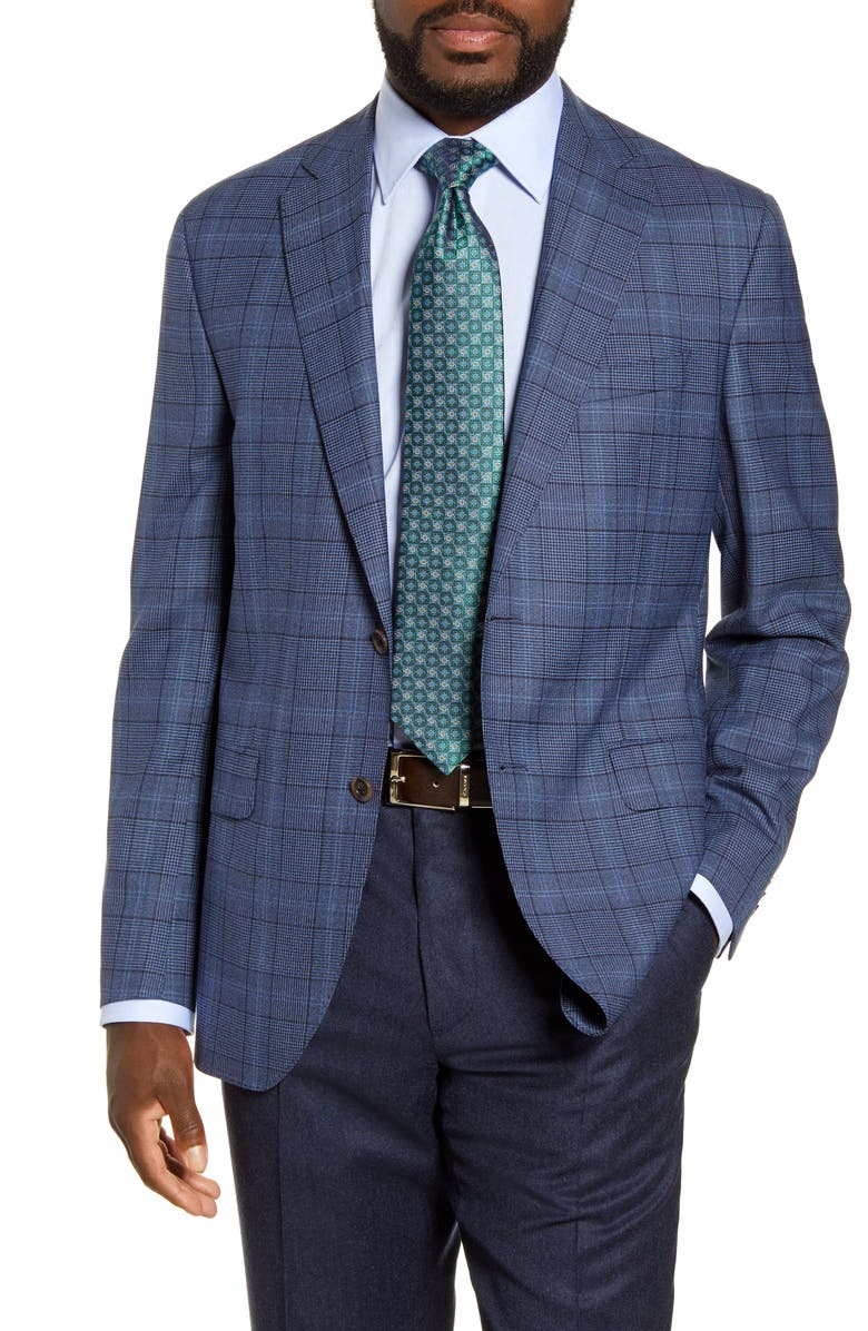 DAVID DONAHUE Arnold Classic Fit Plaid Wool Sport Coat, Main, color, 400