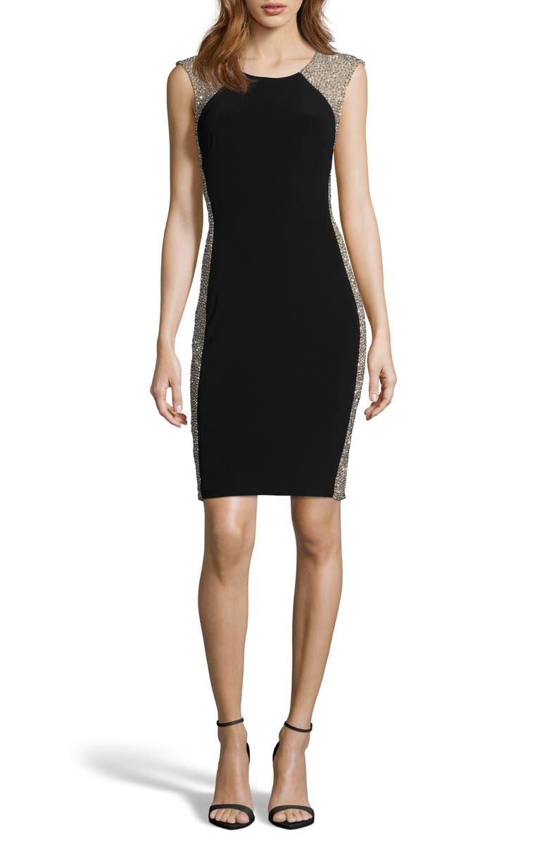 XSCAPE Beaded Cocktail Dress, Main, color, BLACK/ NUDE/ SILVER