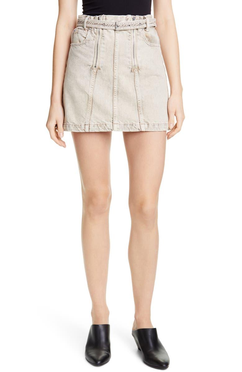 PROENZA SCHOULER Zip Front Belted Denim Miniskirt, Main, color, TAUPE ACID WASH