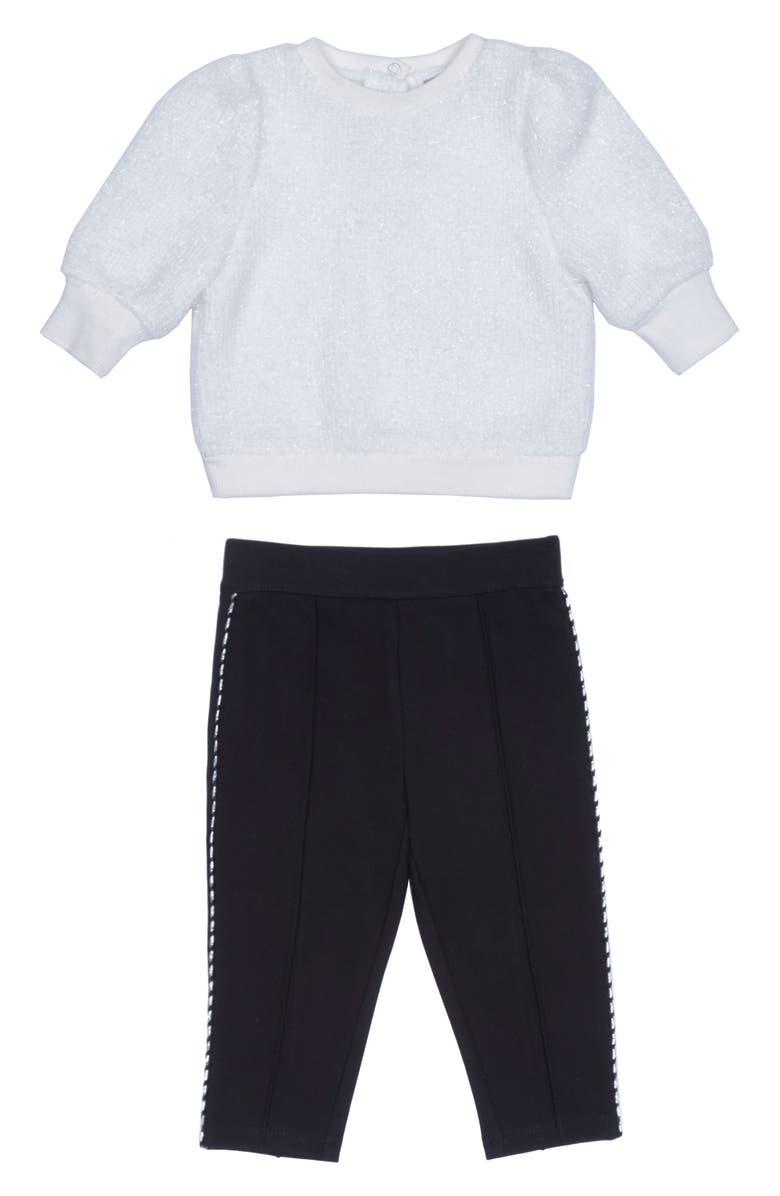 HABITUAL Kori Metallic Sweater & Ponte Pants Set, Main, color, OFF-WHITE