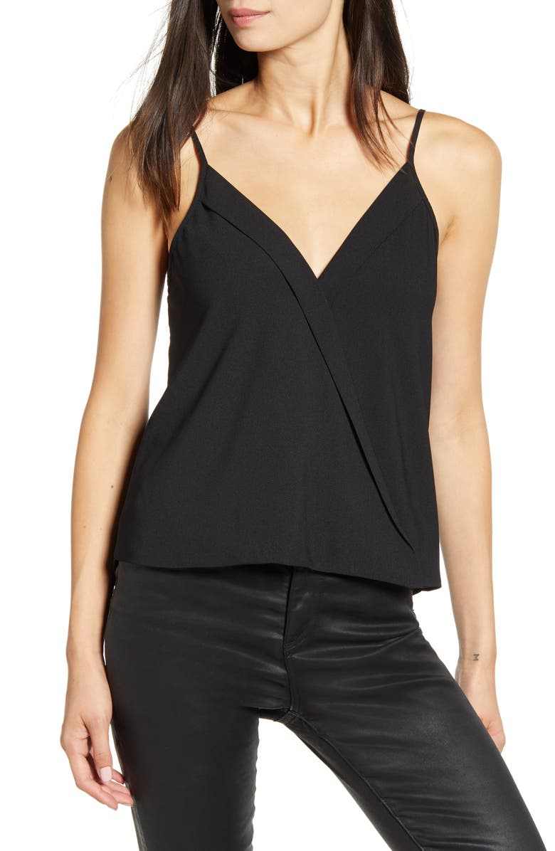 CHELSEA28 Cross Front Camisole Top, Main, color, BLACK
