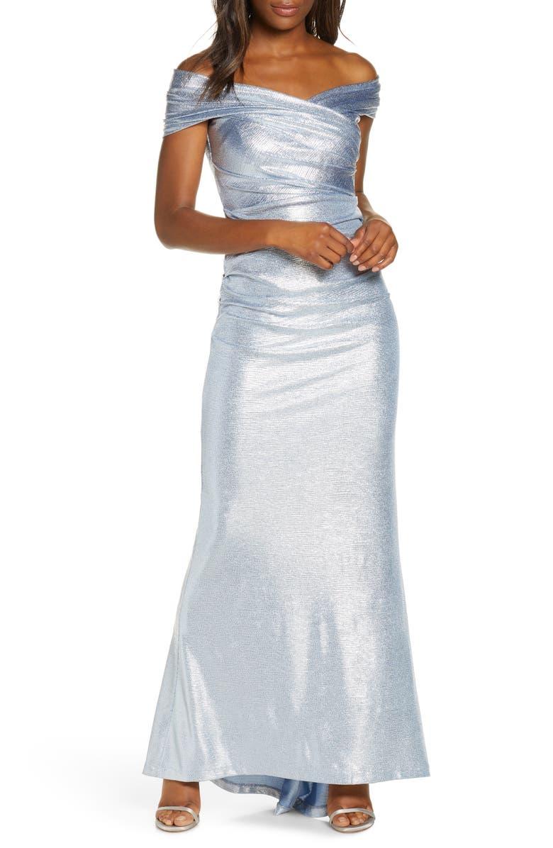 ELIZA J Off the Shoulder Foil Knit Gown, Main, color, BLUE