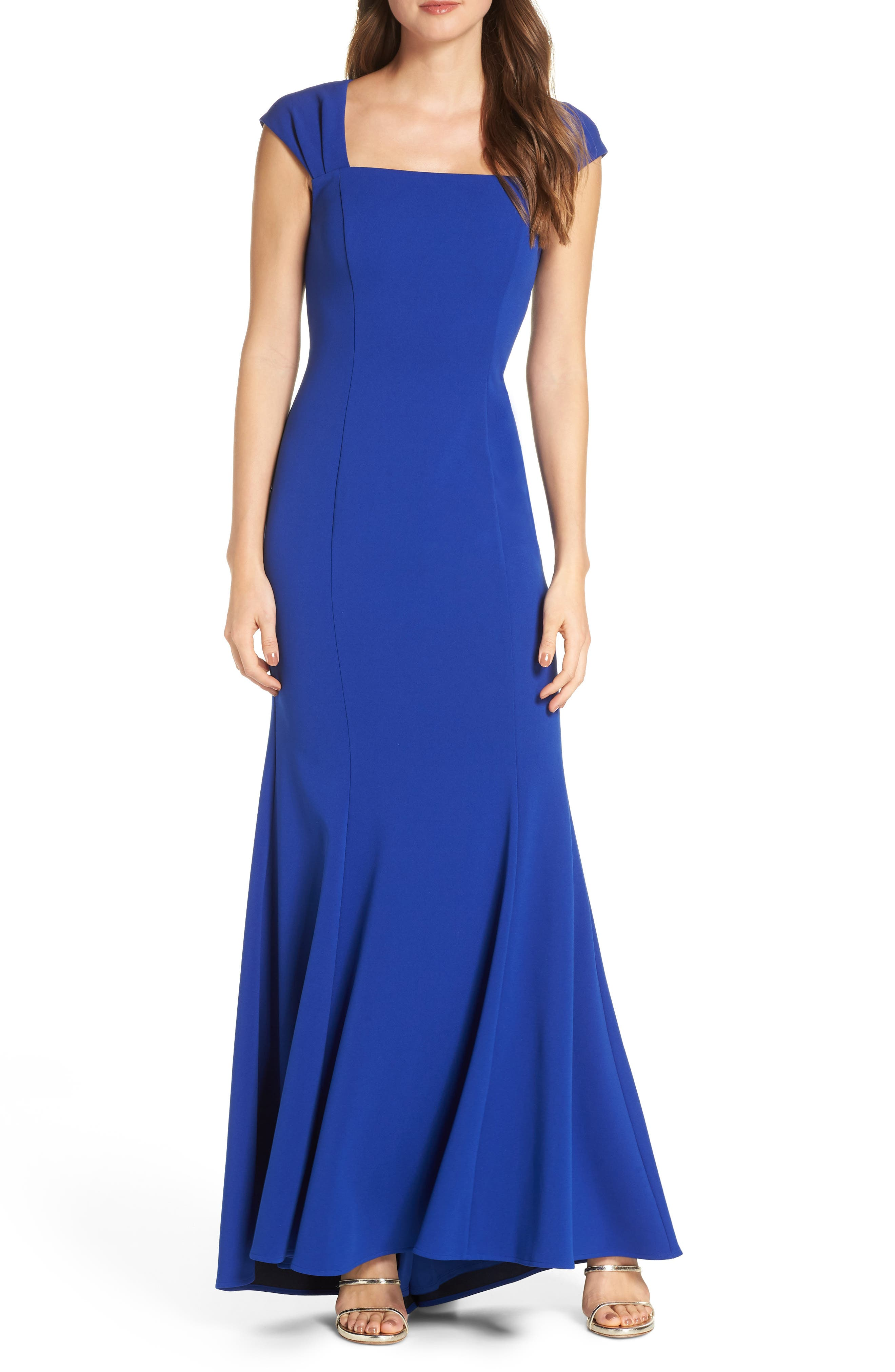 Eliza J Square Neck Scuba Crepe Evening Dress, Blue