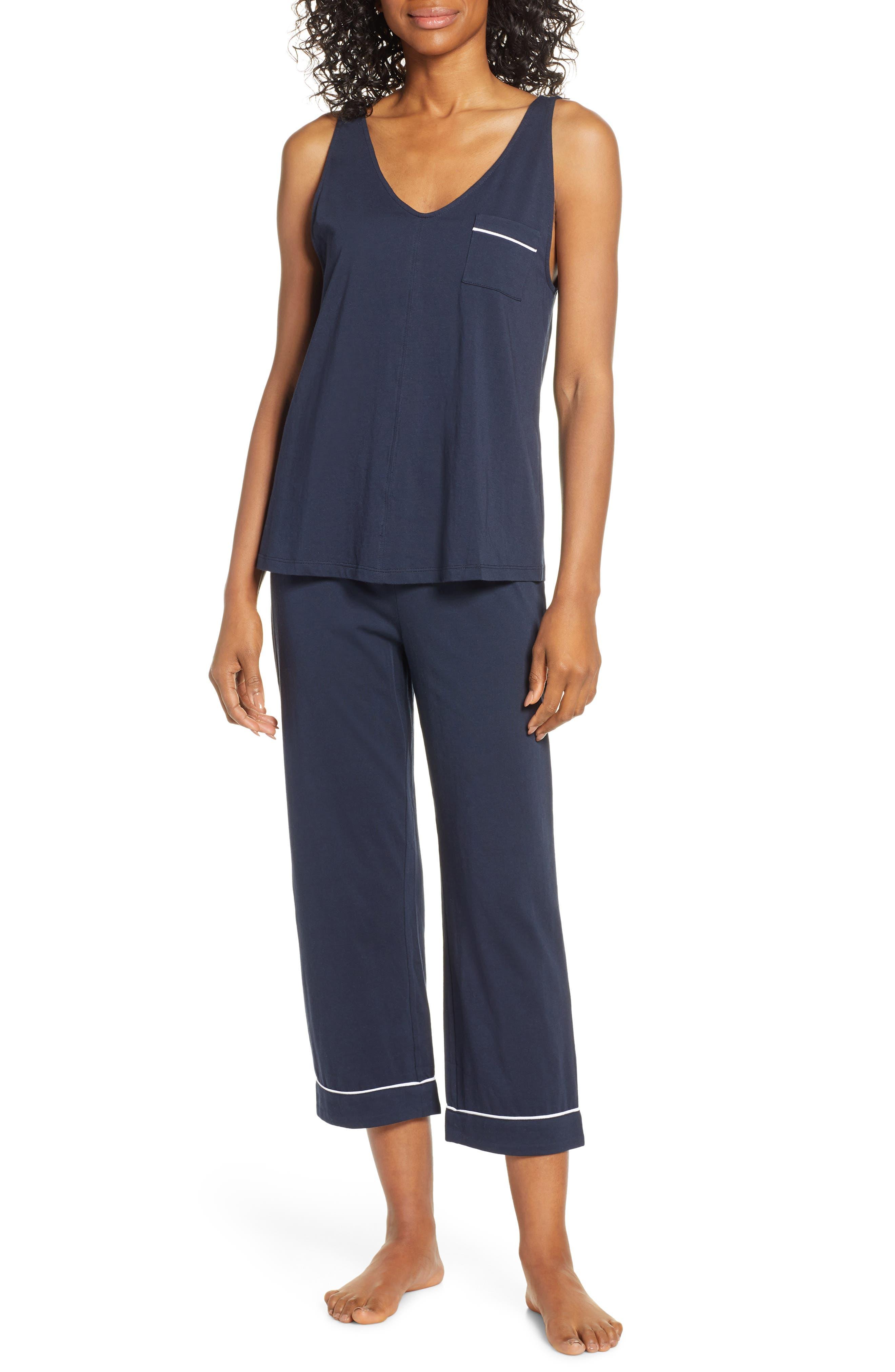 Nordstrom Lingerie Breathe Capri Pajamas, Blue