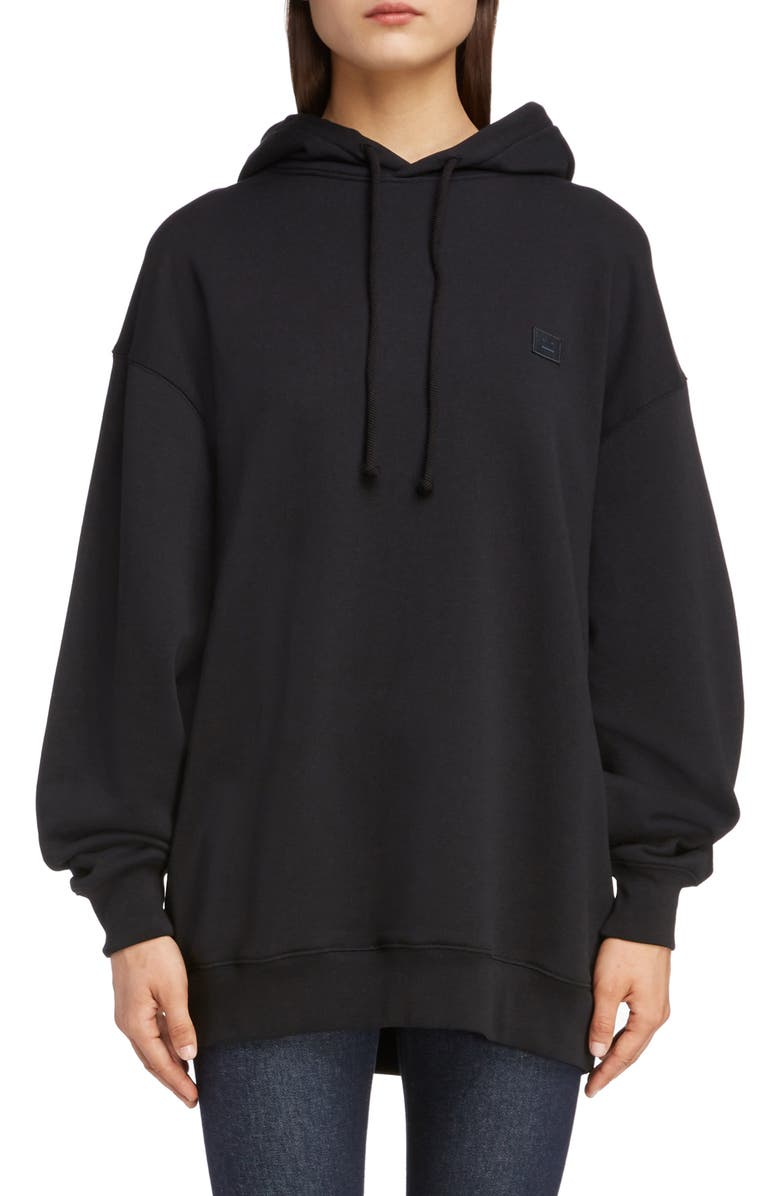 ACNE STUDIOS Farrin Face Oversize Hoodie, Main, color, BLACK