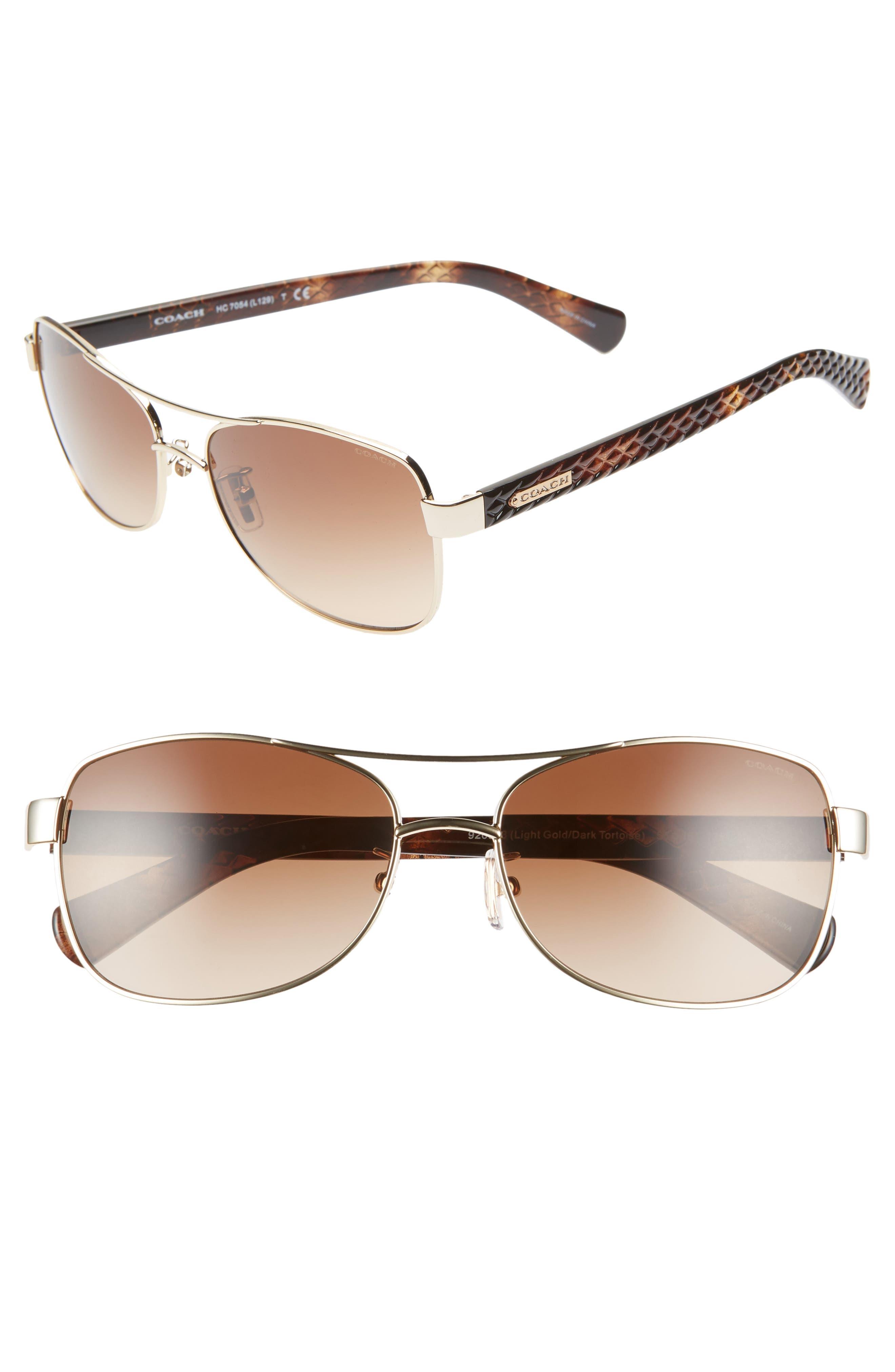 17452ae2389f Women's Coach 56Mm Aviator Sunglasses - Gold/ Tortoise Gradient