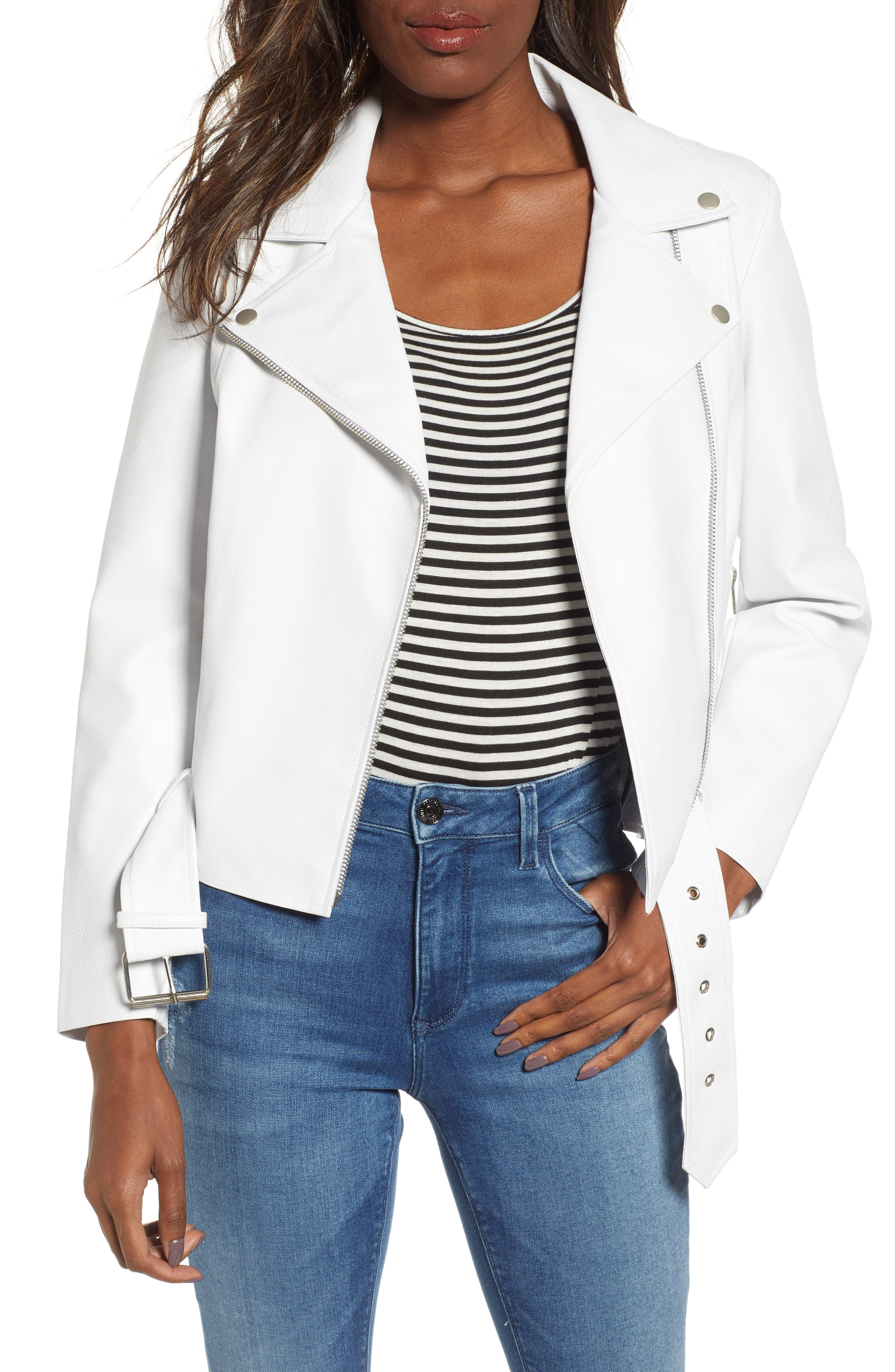 ,                             Guest List Faux Leather Moto Jacket,                             Main thumbnail 1, color,                             OPTIC WHITE