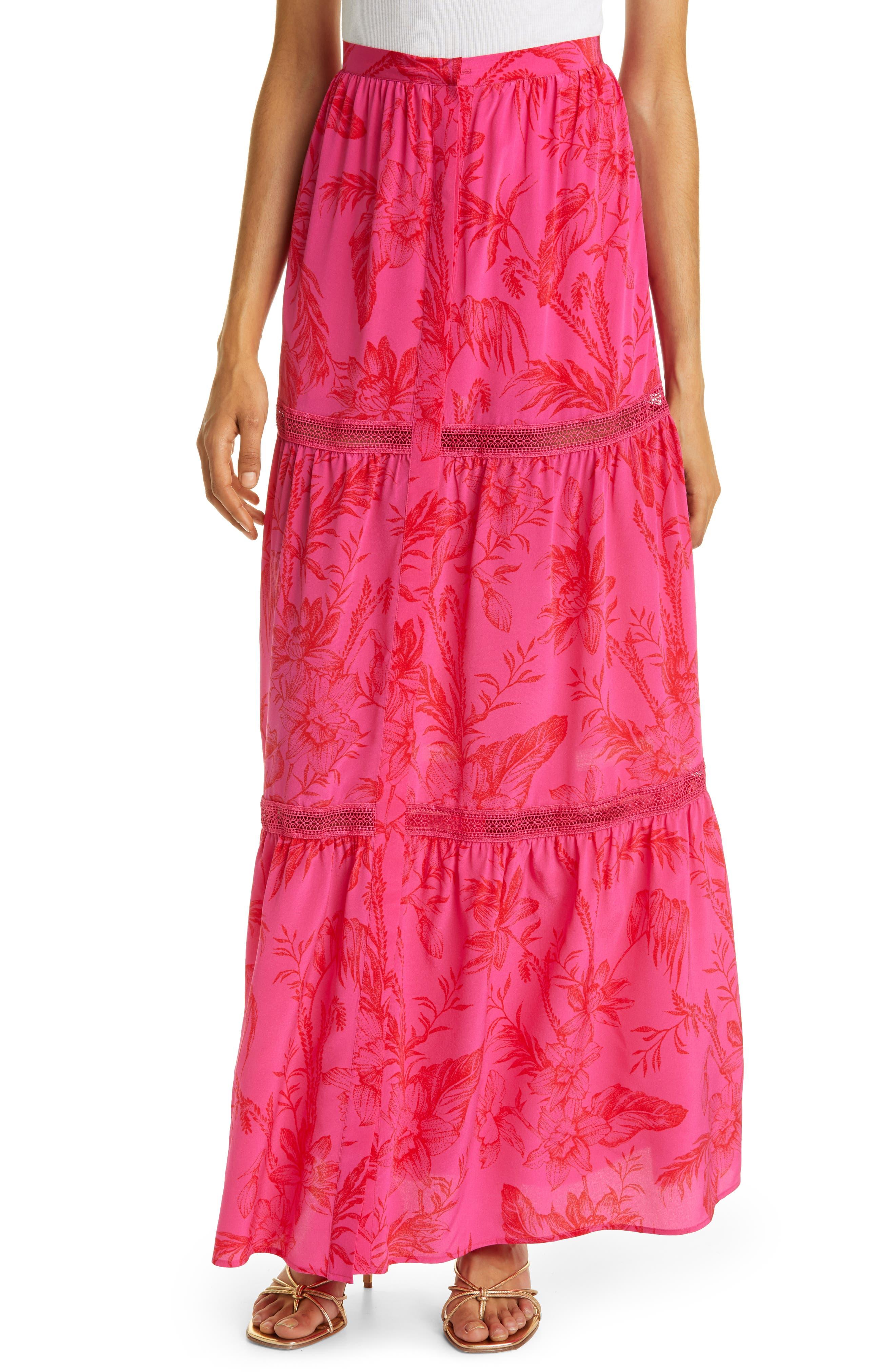 Women's Haute Hippe Floral Silk Maxi Skirt