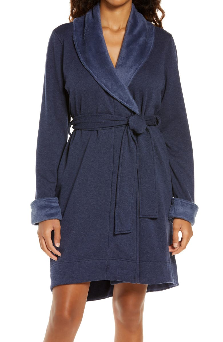 UGG<SUP>®</SUP> Blanche II Short Robe, Main, color, NAVY HEATHER