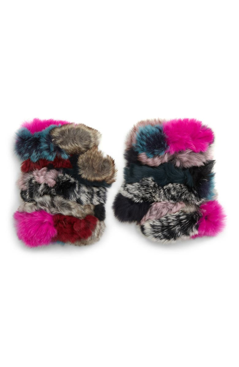 JOCELYN Mandy Dyed Genuine Rabbit Fur Mittens, Main, color, 001