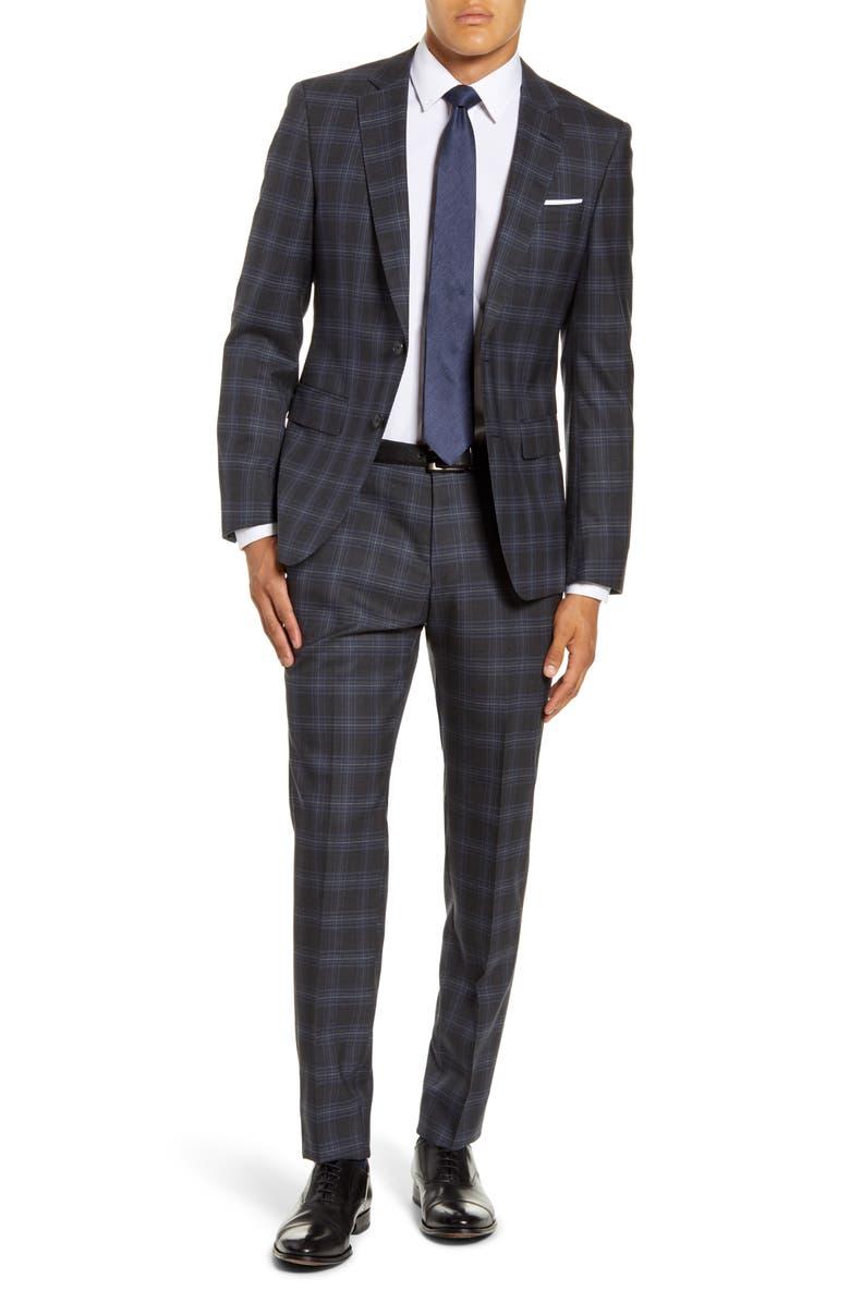 BOSS Huge/Genius Trim Fit Plaid Wool Suit, Main, color, MEDIUM GREY