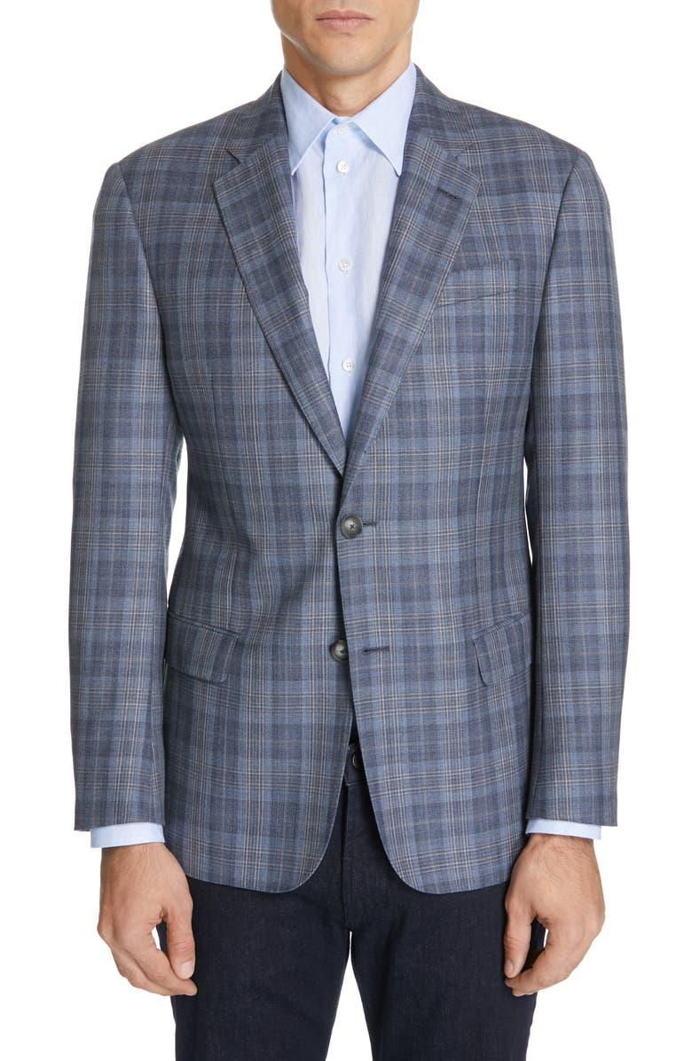 EMPORIO ARMANI Trim Fit Plaid Wool & Silk Sport Coat, Main, color, 434