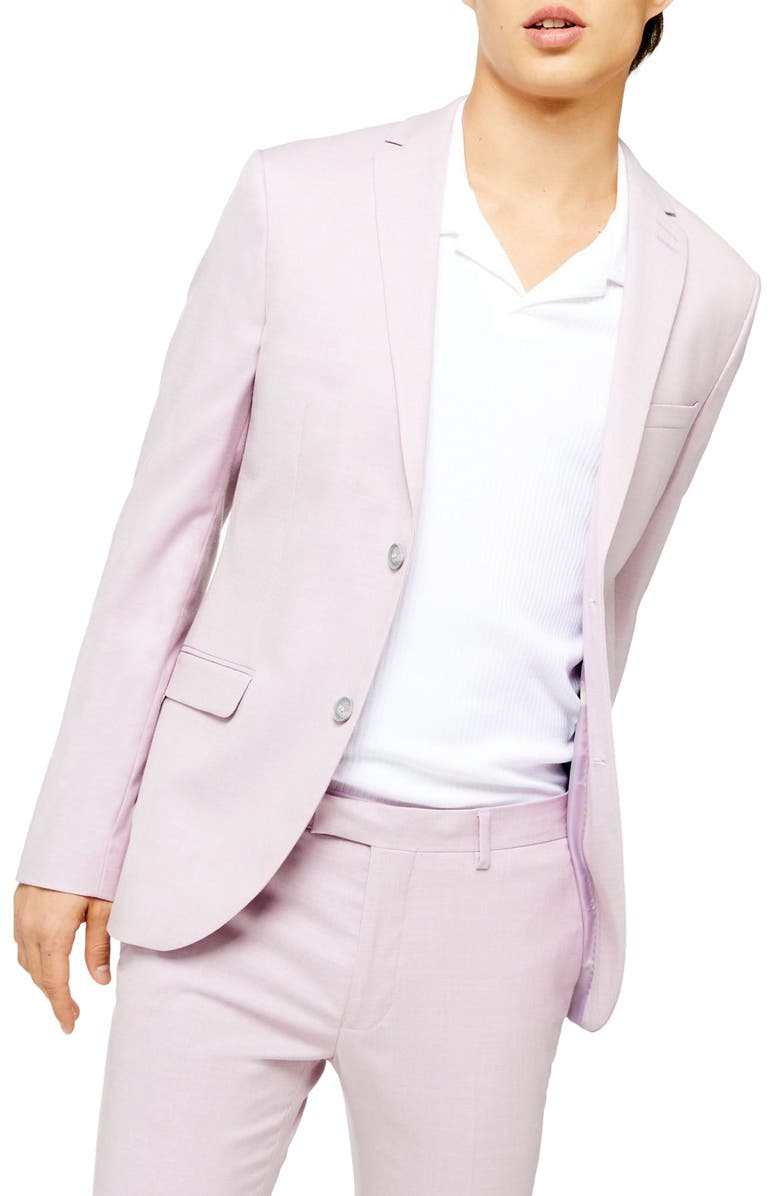 TOPMAN Dax Super Skinny Fit Suit Jacket, Main, color, PURPLE