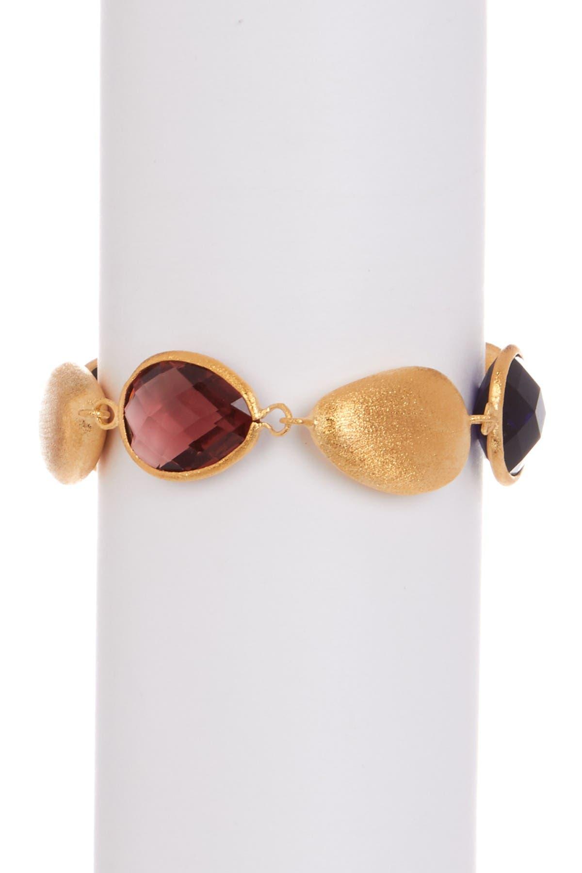 Image of Rivka Friedman 18K Gold Faceted Sapphire & Raspberry Crystal Satin Pebble Bracelet