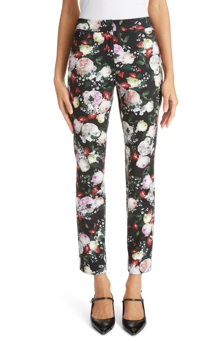 ERDEM Floral Print Slim Ankle Pants, Main, color, BLACK/ MULTI