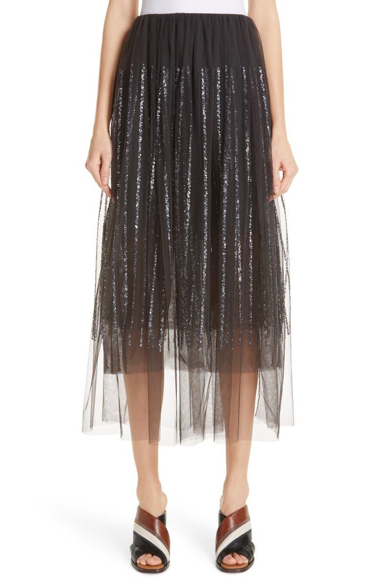 BRUNELLO CUCINELLI Sequin Stripe Tulle Overlay Skirt, Main, color, 020